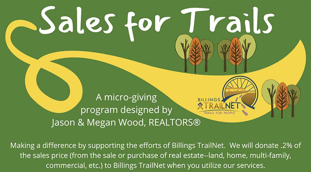If you are buying or selling a home this summer, .2% of the sales price will be donated to building trails if you work with Jason and Megan Wood